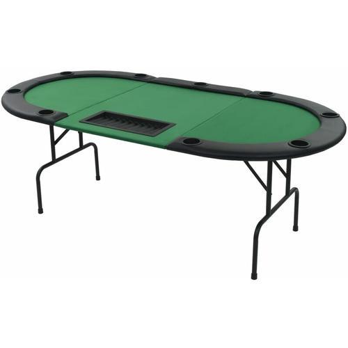 Vidaxl - 9-Spieler Poker Falttisch 3-fach Faltbar Oval Grün