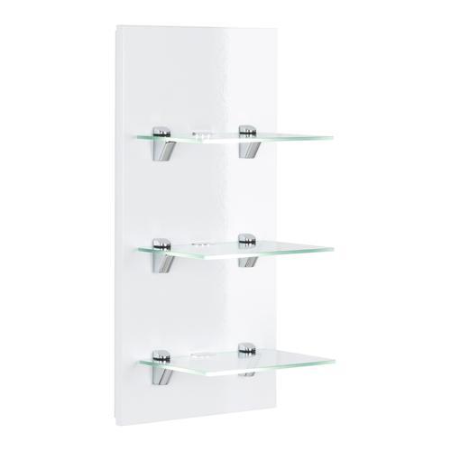 LED-Panel SANTINI weiss hochglanz mit 3 Glasablagen und Beleuchtung