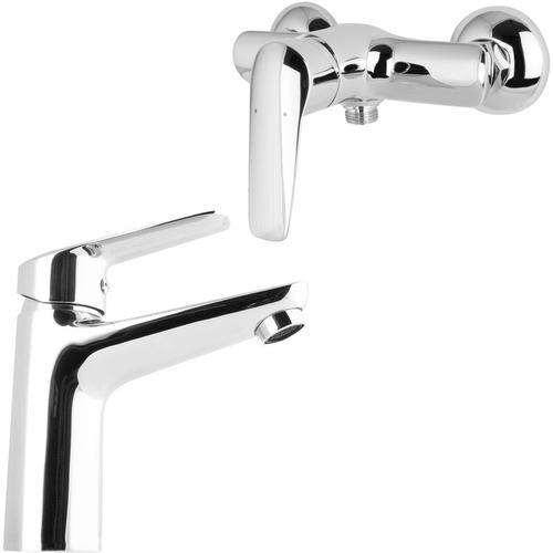 Venus Armaturen-Set Einhandmischer Dusche und Waschtischarmatur rund