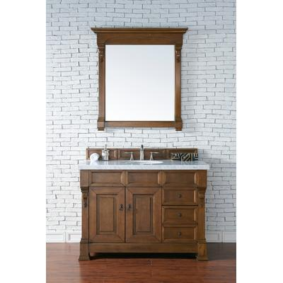 """Brookfield 48"""" Country Oak Single Vanity w/ Drawers w/ 4 CM Carrara White Marble Top - James Martin 147-114-5276-4CAR"""