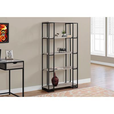 """Bookcase - 60""""H / Dark Taupe / Black Metal - Monarch Specialties I-7241"""