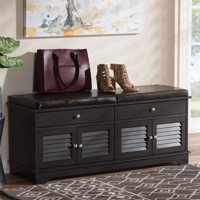 Baxton Studio W-1705-5003-Dark Brown-Shoe Bench Leo Modern & Contemporary Dark Brown Wood 2-Drawer Shoe Storage Bench