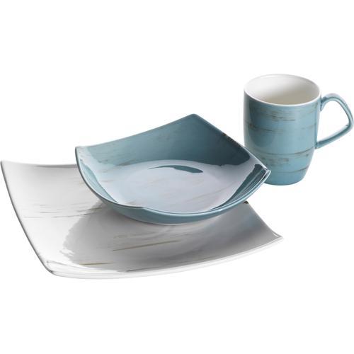 Home affaire Frühstücks-Set, (3 tlg., Kaffeebecher, Teller, Schüssel) blau Frühstücksset Eierbecher Geschirr, Porzellan Tischaccessoires Haushaltswaren Frühstücks-Set