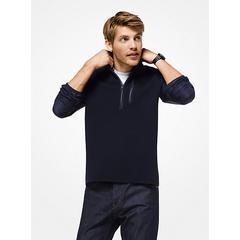 Michael Kors Mixed-Media Quarter-Zip Pullover Blue XS