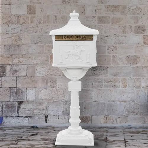 vidaXL Sockel-Briefkasten Aluminium Vintage-Stil Rostfrei Weiß