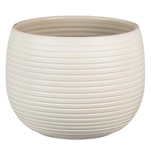 Keramik-Übertopf, rund, 12x16x16 cm, Cream Stone