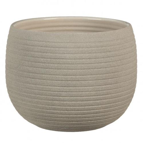 Keramik-Übertopf, rund, 12x16x16 cm, Taupe Stone
