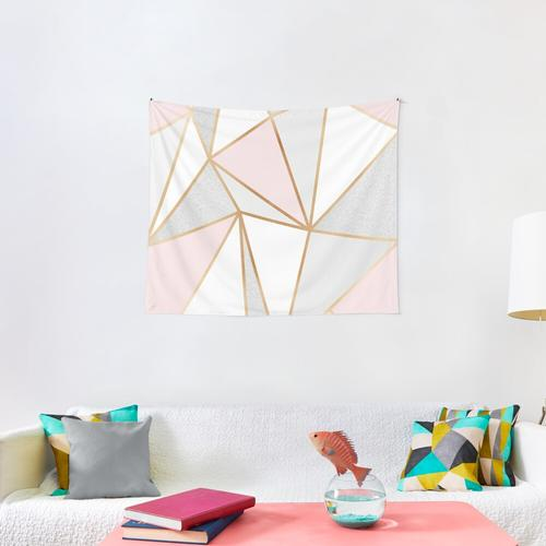 Pink, Grey & Gold Geo Wall Tapestry