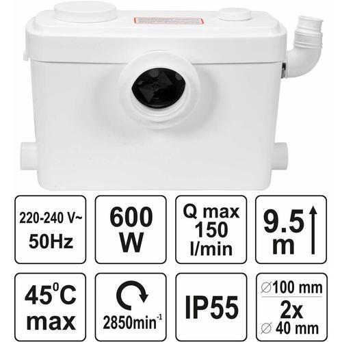 WC-Hebeanlage 600 Watt Kleinhebeanlage für WC, Dusche, Waschbecken Fäkalienpumpe Haushaltspumpe