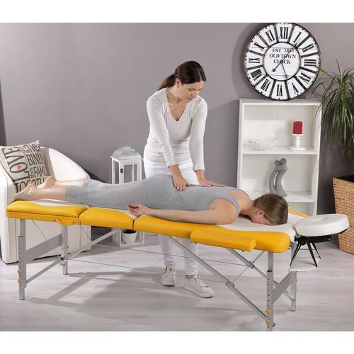 Mucola - Aluminium 3 Zonen Massageliege Therapieliege weiß/gelb + Tasche Massagetisch M01