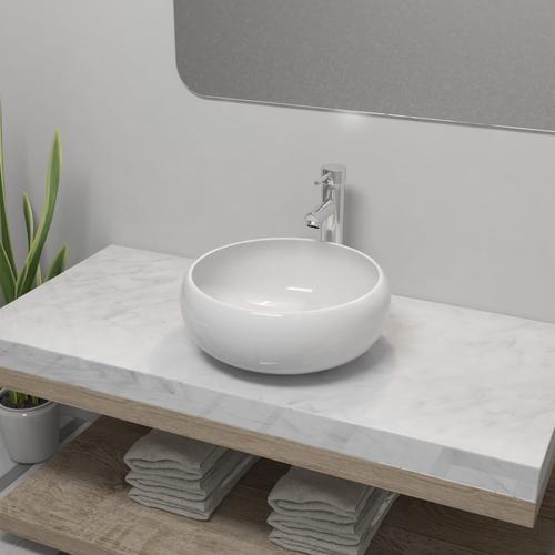 vidaXL Bad-Waschbecken mit Mischbatterie Keramik Rund Weiß