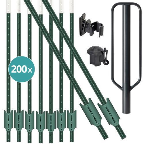 VOSS.farming Set: 200x T-Pfosten 182cm, 200x Kopfisolatoren, 200x Bandisolatoren und Handramme