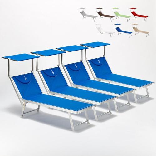4 Sonnenliegen Strandliegen mit Dach Aluminium Santorini   Blau