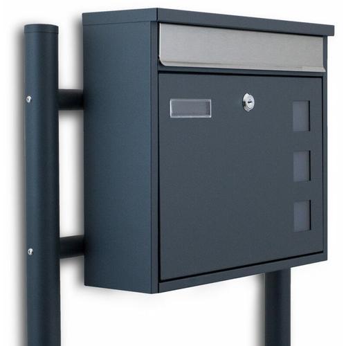 Standbriefkasten Briefkastenanlage Einwurfklappe aus Edelstahl Dunkelgrau