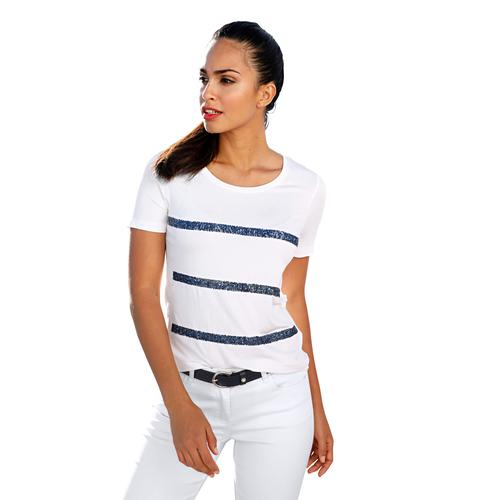 Amy Vermont Paillettenshirt, mit Pailletten weiß Damen Jersey Shirts Sweatshirts Paillettenshirt