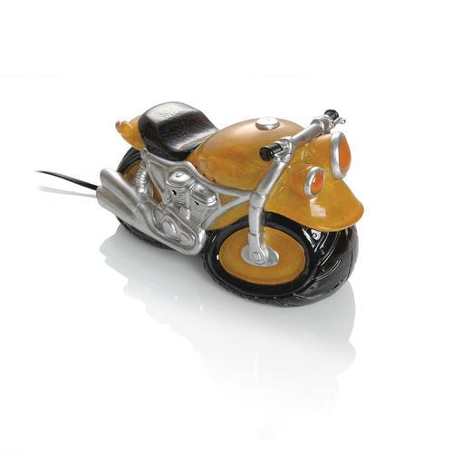 Booster Kunststein Tischlampe Motorrad, gelb
