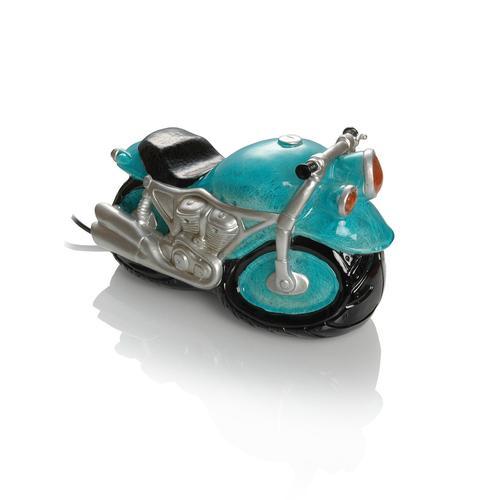 Booster Kunststein Tischlampe Motorrad, blau