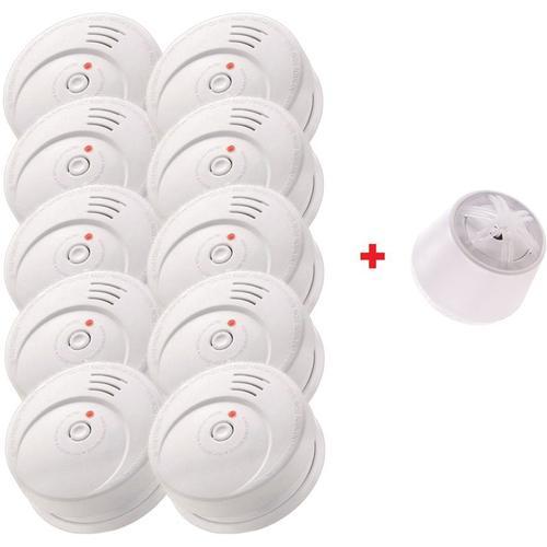 Jeising Sicherheits Set GS506 G 10er Set Rauchmelder/Brandmelder/ 10 Jahre Lithium Batterie KRIWAN