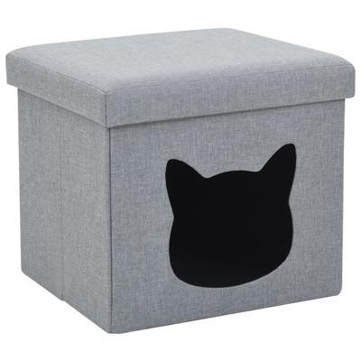 vidaXL Lit pliable pour chats Faux lin 37 x 33 x 33 cm Gris