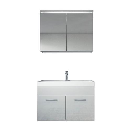 Badezimmer Badmöbel Set Paso 02 80cm Waschbecken weiß hochglanz - Unterschrank Schrank Waschbecken