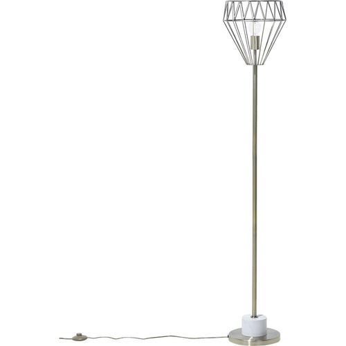 Stehlampe Messing Metall 160 cm Glühbirnen-Optik Schirm Diamantform Lampenfuß in Marmoroptik Kabel