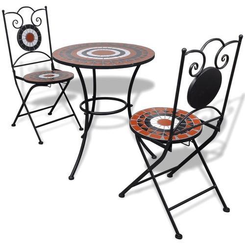 3-tlg. Bistro-Set Keramikfliese Terrakotta/Weiß