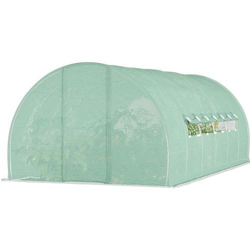 Outsunny® Gewächshaus Folie Foliengewächshaus 18m² Treibhaus 2 Fenster Gitterfolie - grün