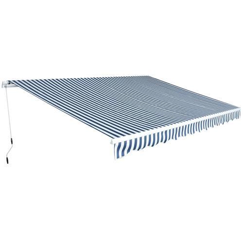 vidaXL Gelenkarmmarkise 450 cm Blau/Weiß