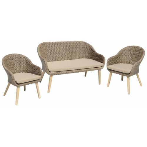 Sofa & Stuhl Set PUEBLO 3-teilig Akazie FSC 100% / Kunststoffgeflecht 985148