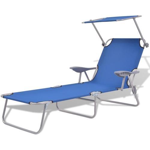 Sonnenliege mit Sonnenschutz Stahl Blau