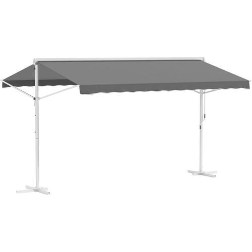 Outsunny® Standmarkise mit Faltarm Gartenmarkise Markise Kurbel Grau 4,5x3,42m - grau