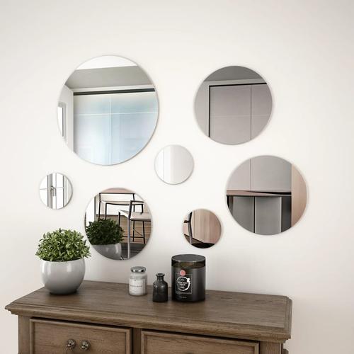 vidaXL 7-teiliges Wandspiegelset Rundglas