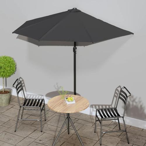 vidaXL Balkon-Sonnenschirm mit Alu-Mast Anthrazit 270×135 cm Halbrund
