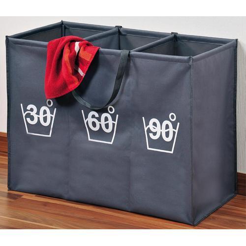 KESPER for kitchen & home Wäschesortierer, mit beidseitigem Aufdruck grau Wäschesortierer Wäschekörbe Wäschetruhen Badmöbel