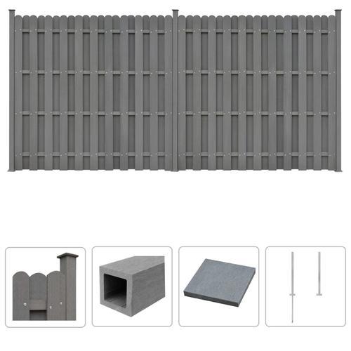 vidaXL WPC Zaun-Set 2 Quadratelemente 376 x 185 cm Grau