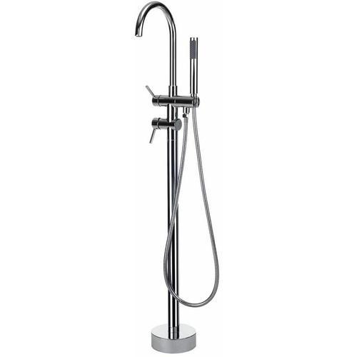 Beliani - Duscharmatur Armatur Freistehend Mischer Wasserhahn Dusche Set Brause silber Edelstahl