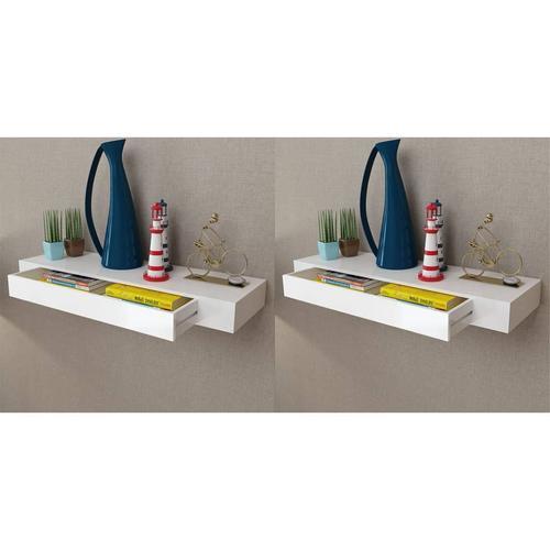 vidaXL Wandregal Hängeregal mit Schubladen 2 Stk. Weiß 80 cm