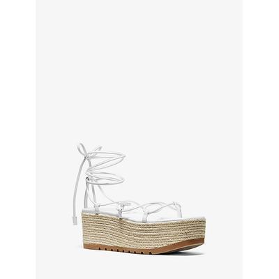 Michael Kors Mabal Leather Flatform Sandal White 37