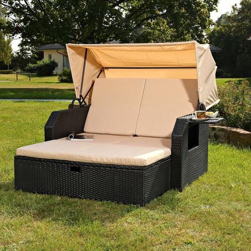 Mucola - Polyrattan Bett in schwarz inkl. Sonnendach Rattan Sofa Gartenliege Strandkorb