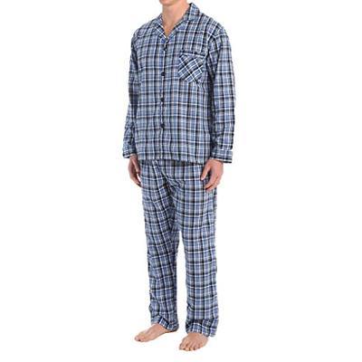 Hanes Men's Big & Tall 2-Piece Pajama Set Blue Plaid 4X
