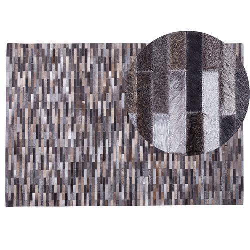 Teppich Grau mit Braun 140 x 200 cm aus Leder Kurzhaarteppich Handgefertigt Streifen Rechteckig Modern