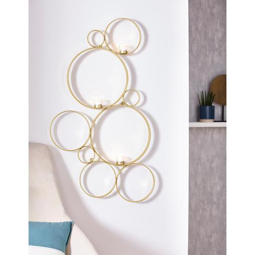 Leonique Wandkerzenhalter Kreise, Kerzen-Wandleuchter, Kerzenhalter, Kerzenleuchter hängend, Wanddeko, mit 3 Teelichthalter goldfarben Wanddekoration Deko Wohnaccessoires