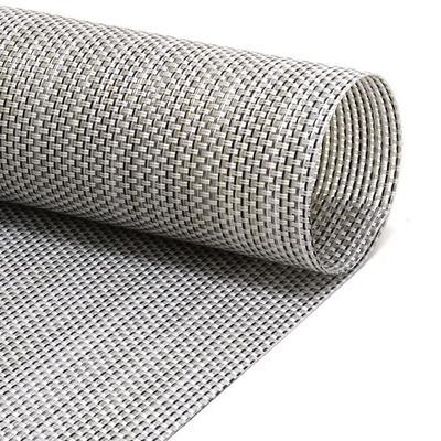 """Front of the House XPM098GYV83 Rectangular Metroweave? Placemat - 16"""" x 12"""", Woven Vinyl, Gray"""