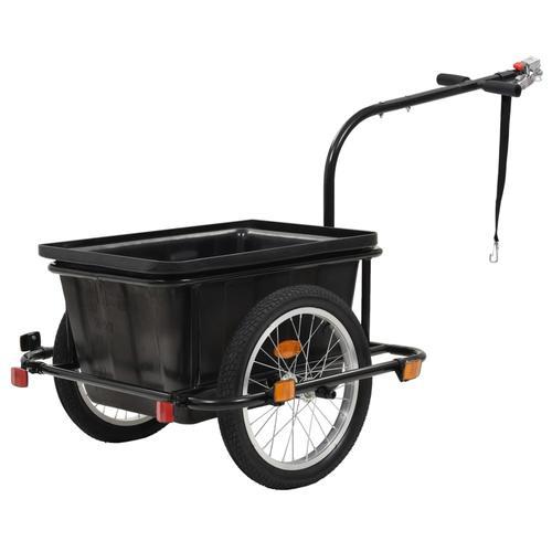 vidaXL Fahrrad-Lastenanhänger Schwarz 50 L