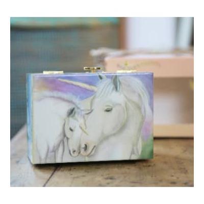 Music Box World - Unicorns Music Box - White/Green/Yellow