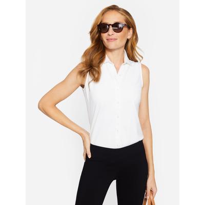 J.McLaughlin Women's Betty Sleeveless Shirt White Solid, Size XL
