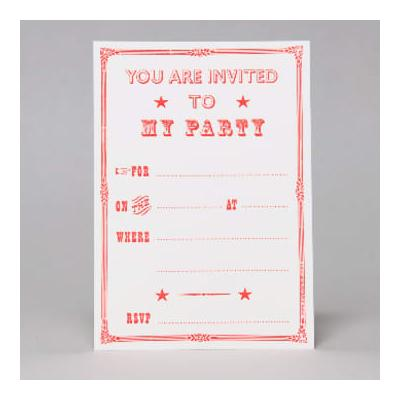 Marby And Elm - Fluoro Victorian Style Party Invites - Orange