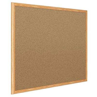 Mead Corkboard, Framed Bulletin Board, 3' x 2', Cork Board, Oak Finish Frame (85366)