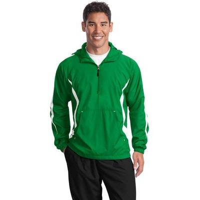 Sport-Tek Men's Colorblock Raglan Anorak L Kelly Green/White