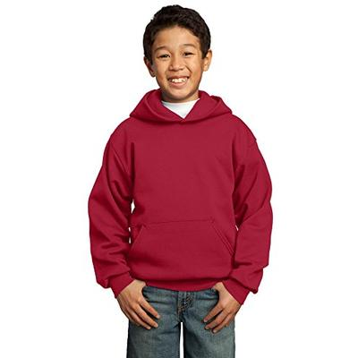 Port & Company Boys' Pullover Hooded Sweatshirt S Red